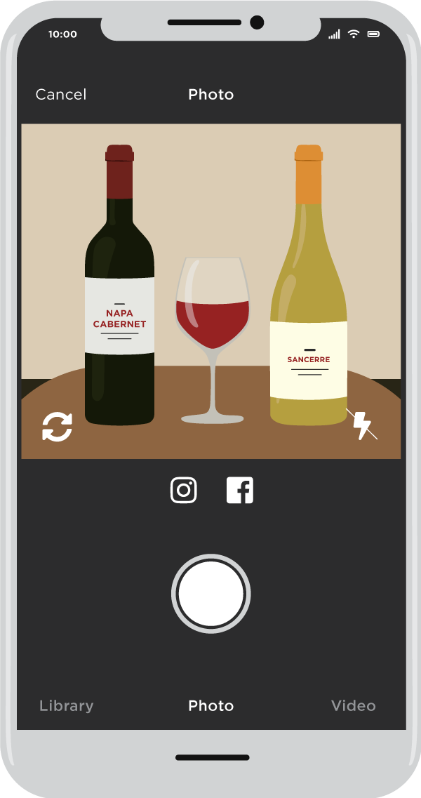 Illustration of smart phone with picture of bottles of wine.