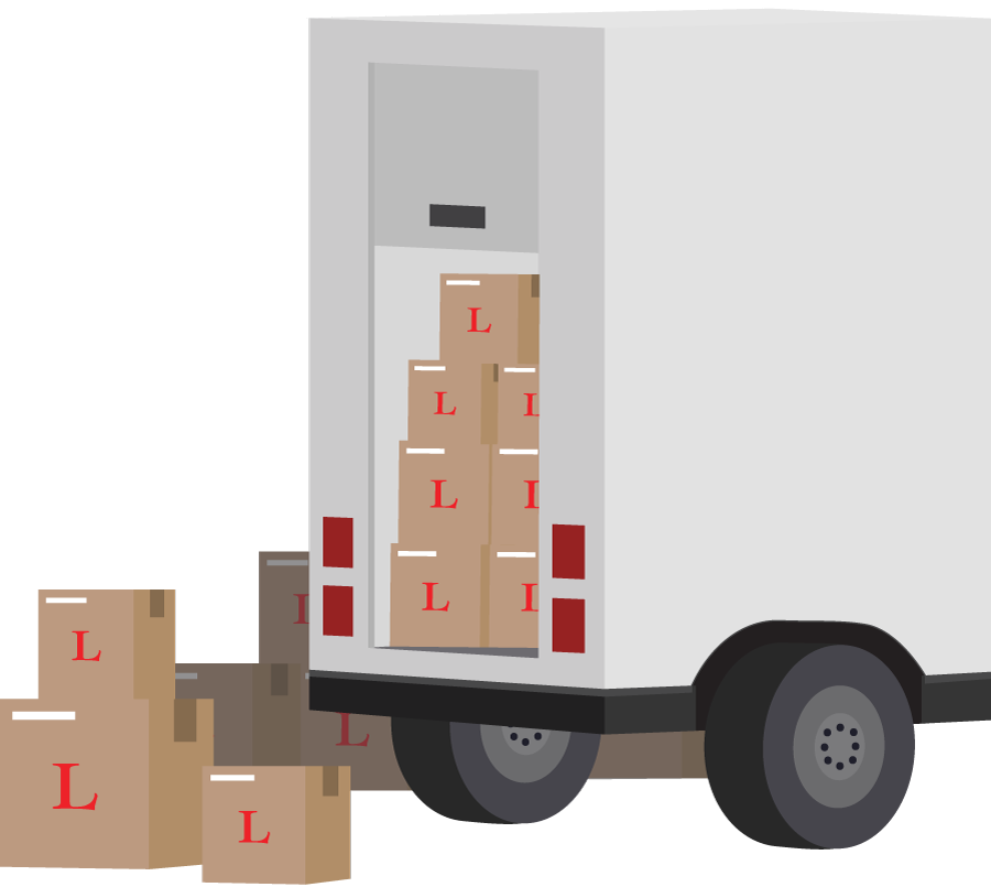 Illustration of trucks loading up with boxes of wine from Last Bottle