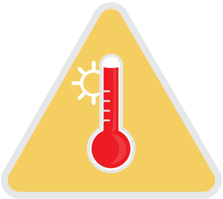Illustration of thermometor representing high heat.